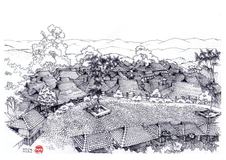 边走边画——云南少数民族建筑手绘作品