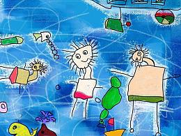 儿童游泳创作作品