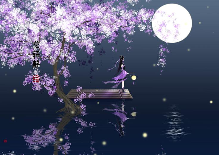 唯美古风意境插画——紫萝流萤图片