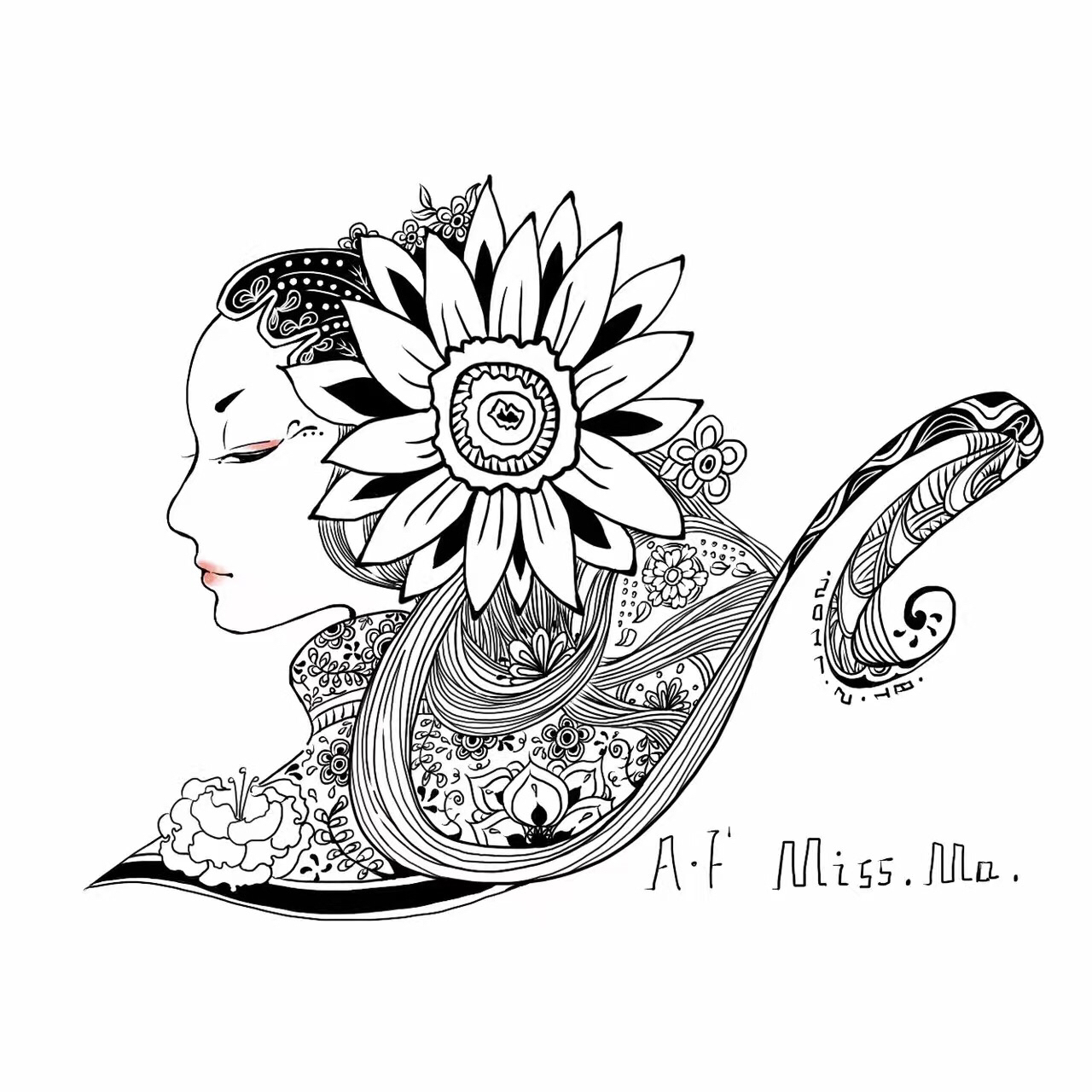 黑白装饰插画