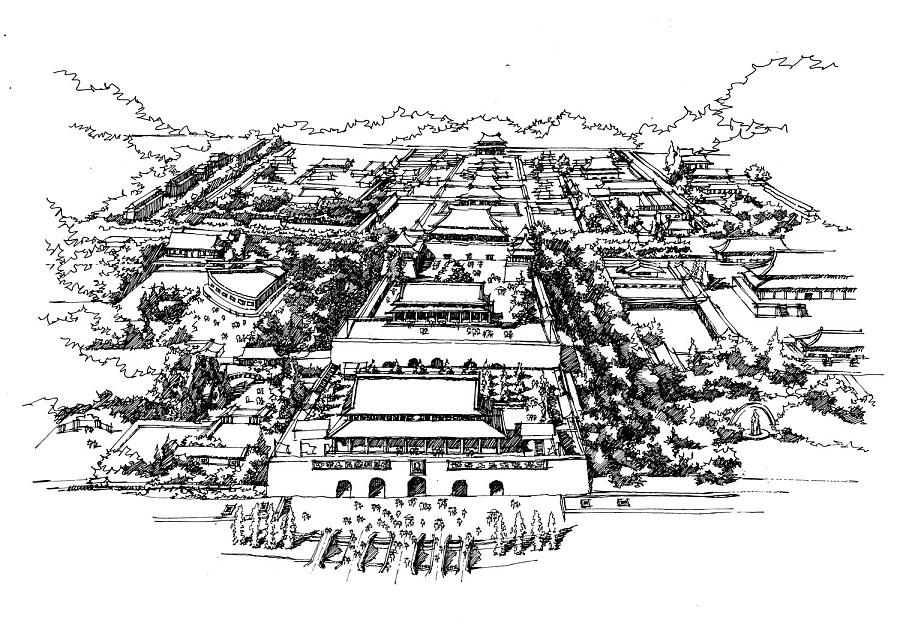 北京天安门广场周边景点手绘图