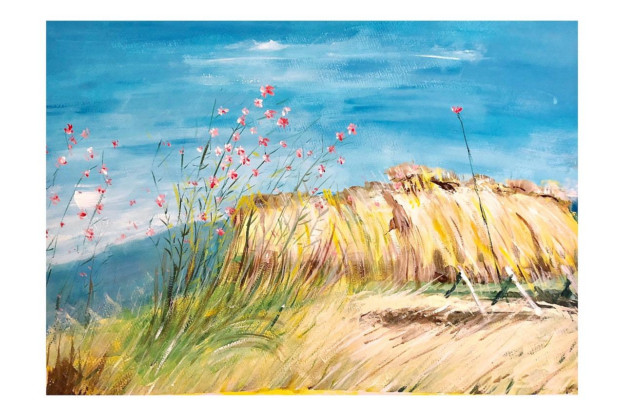 水粉手绘临摹风景画