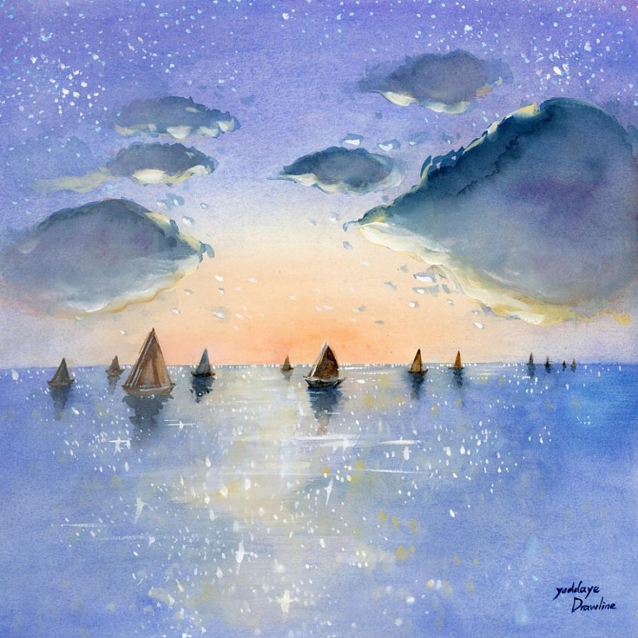 原创作品:手绘水彩风景