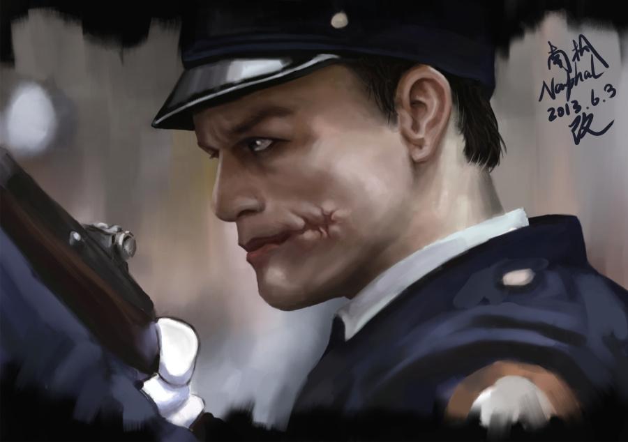 把自己之前的警察小丑修改一下,|其他绘画|插画