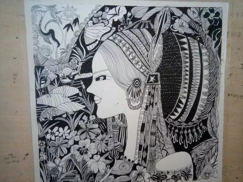 民族黑白装饰画