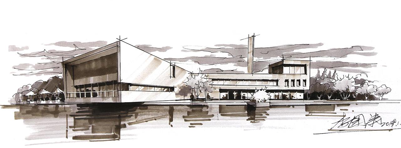 建筑手绘效果图|空间|建筑设计|liguotao - 原创作品