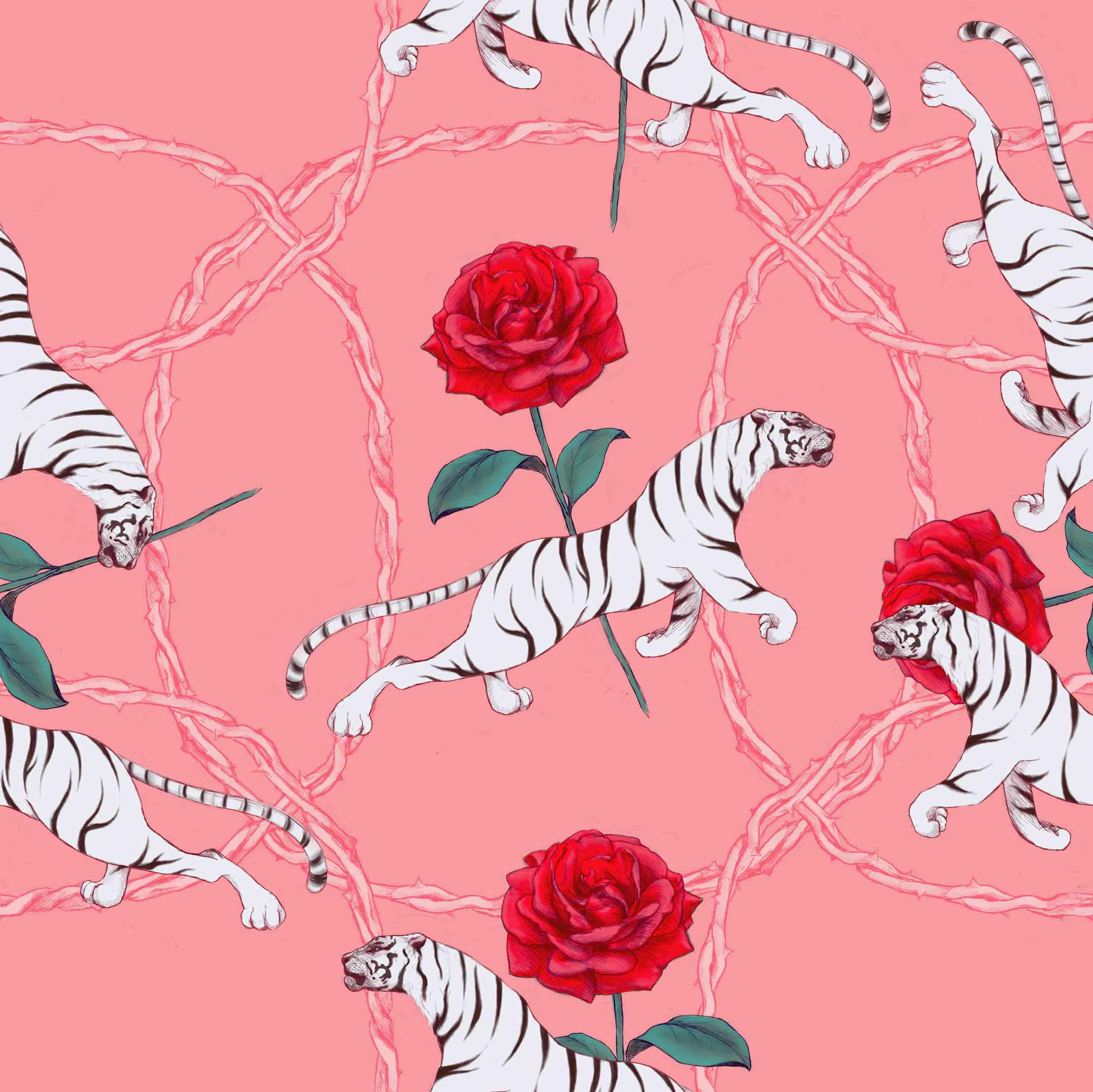 原创作品:虎和蔷薇四方连续图案