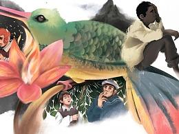 快乐读书吧中小学必读名著彩插绘本神秘岛插画