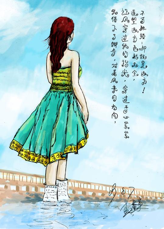 一张背侧面手绘图,有空时上个颜色