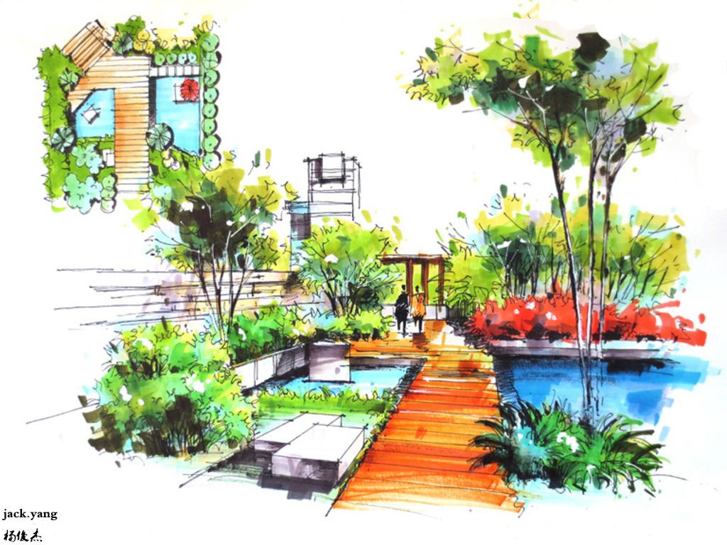 手绘小景|空间|景观设计|杨儁杰 - 临摹作品 - 站酷