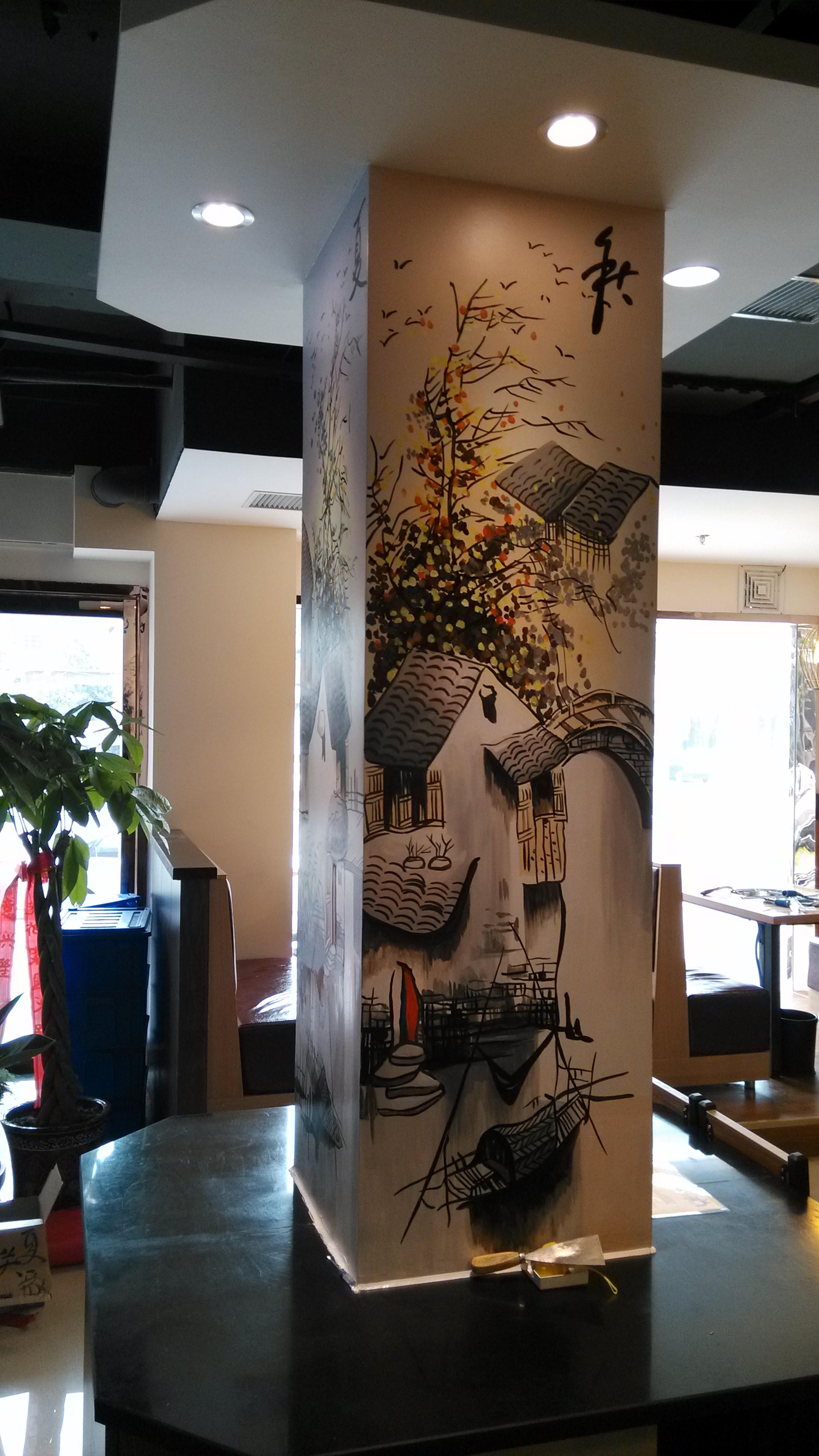中式手绘墙