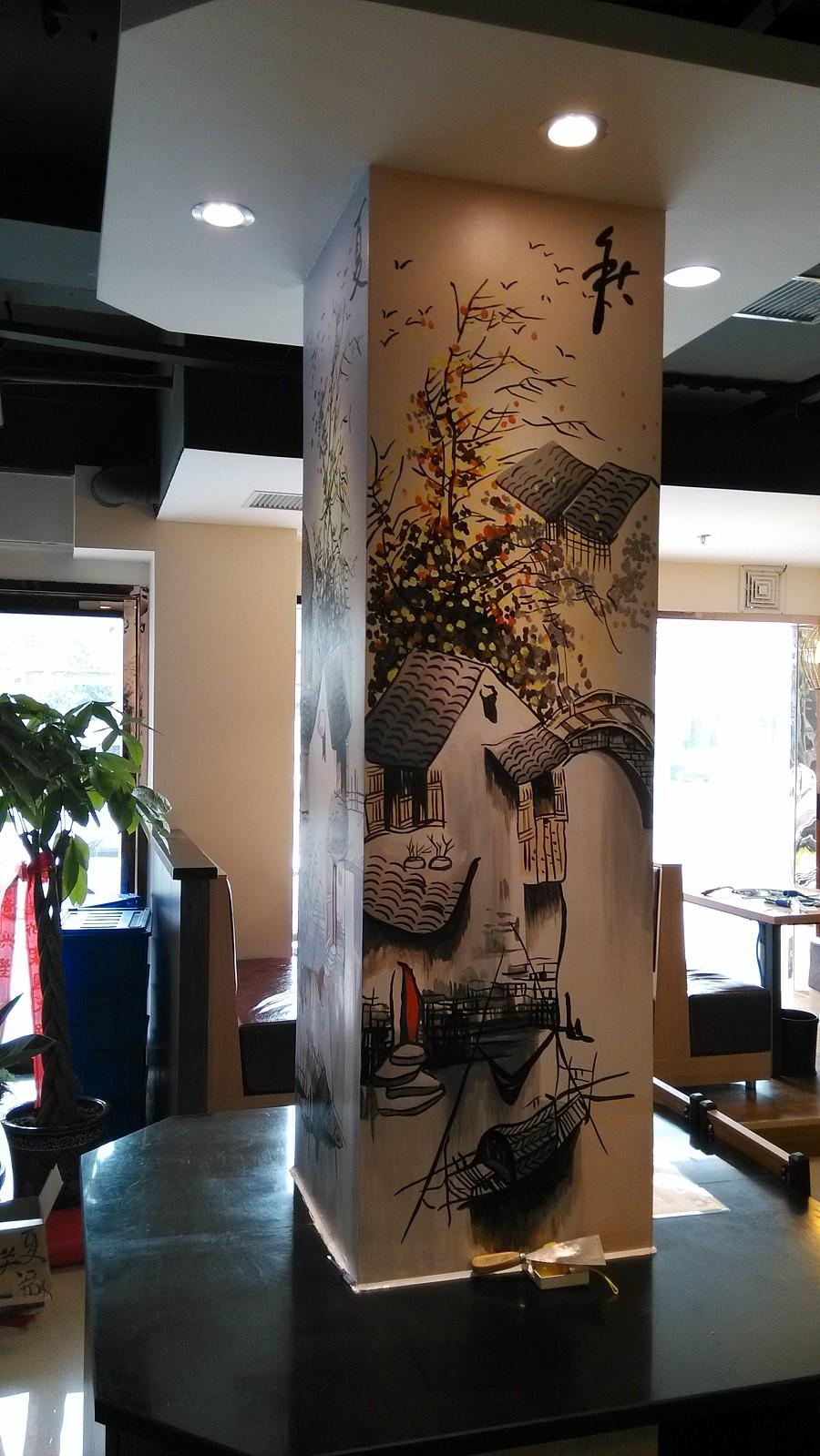 原创作品:中式手绘墙