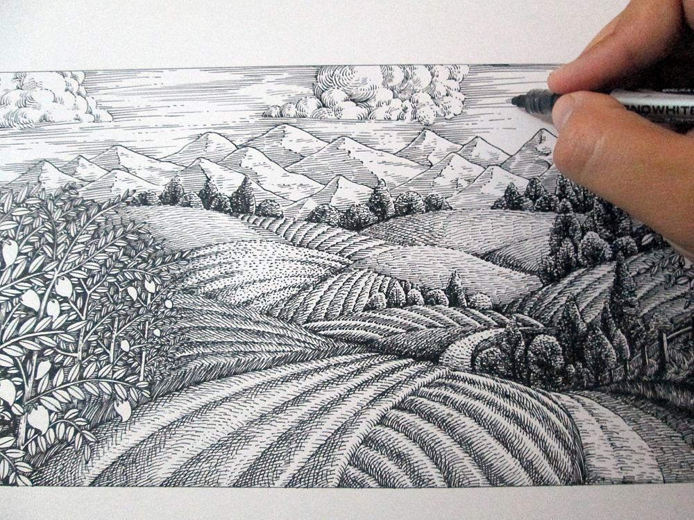 《田园风光》手绘过程|纯艺术|钢笔画|傅淳强 - 原创