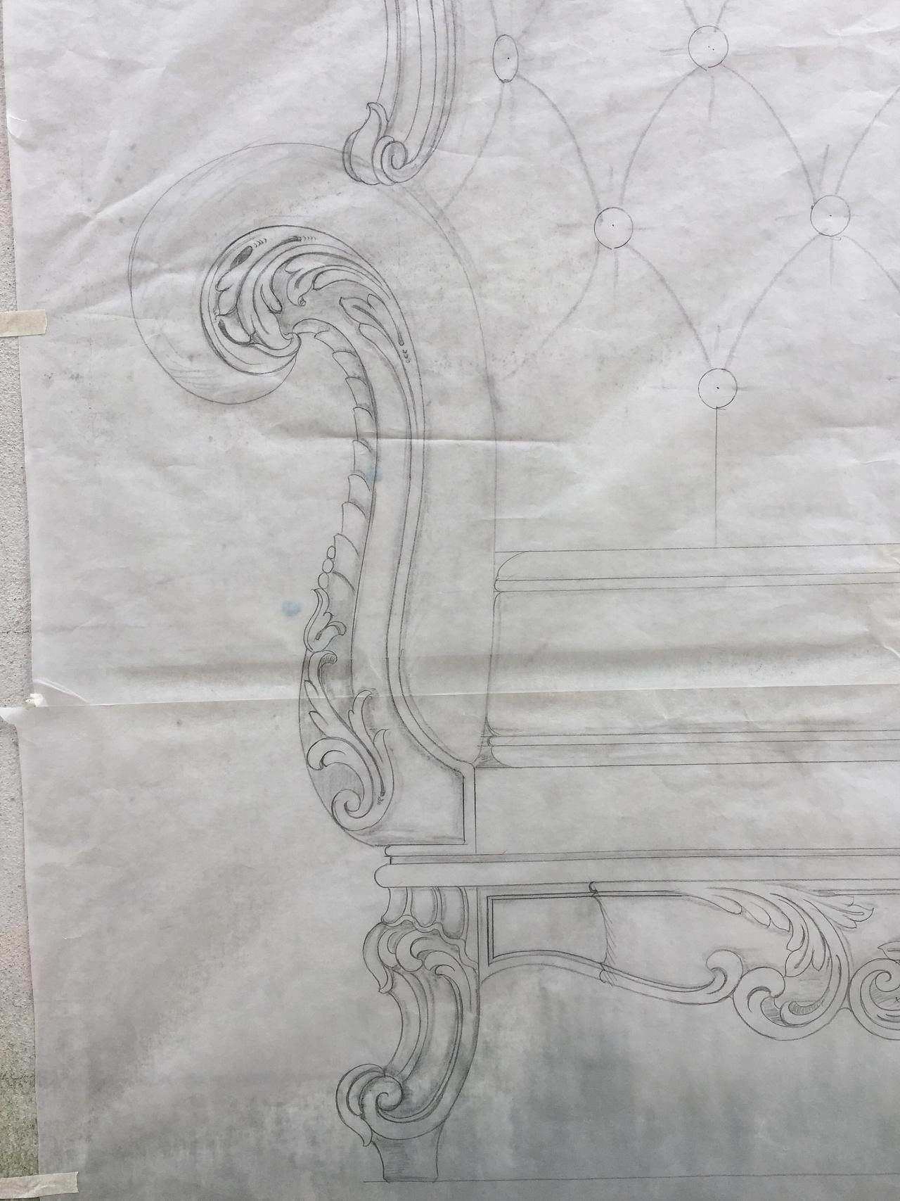 沙发结构素描图
