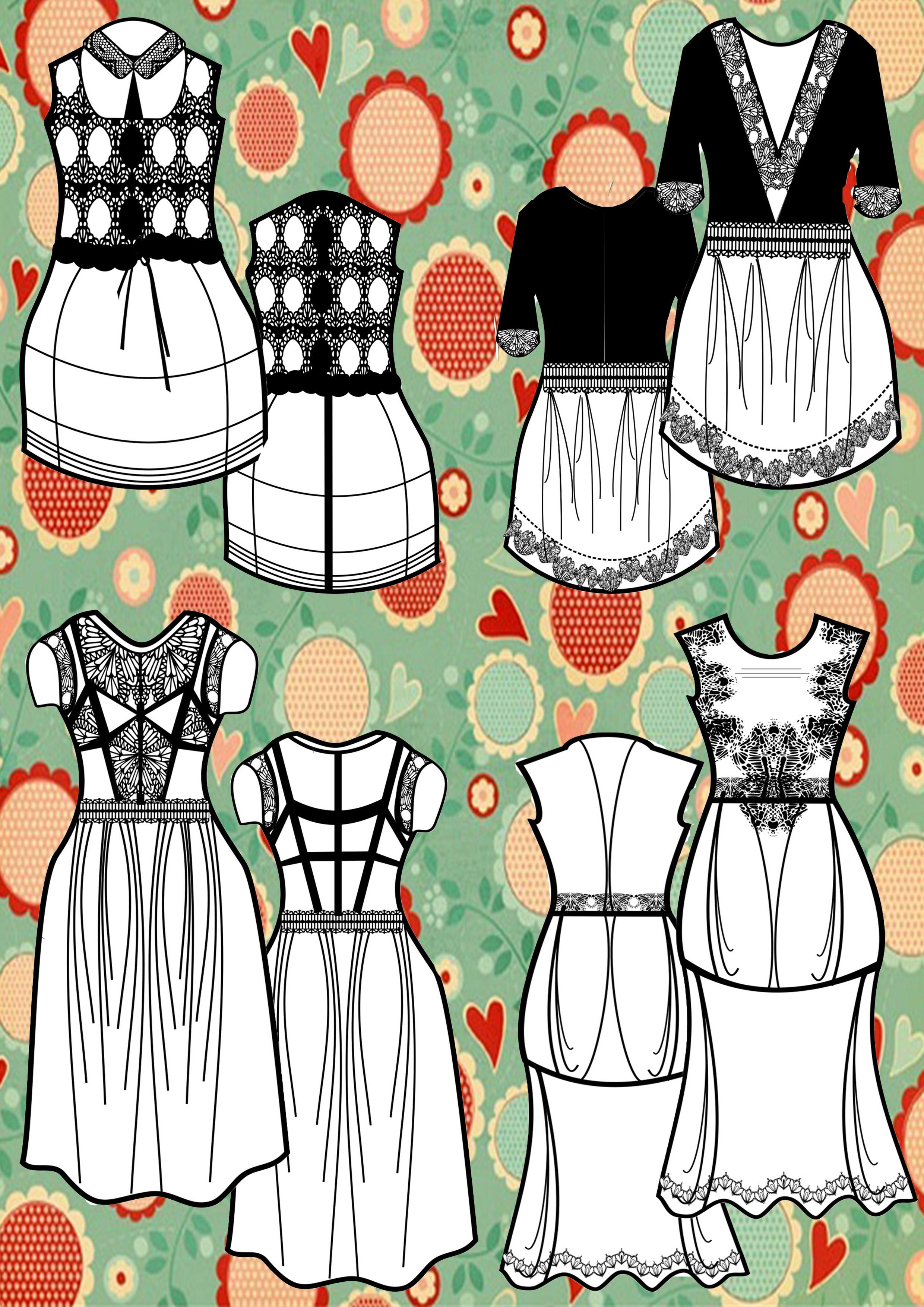 多款女装款式图正反面(含源文件)共享
