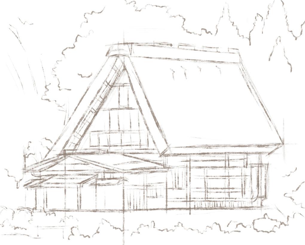 简单房屋建筑线稿手绘