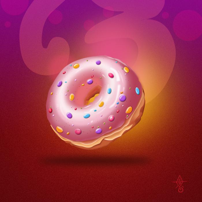 国外网站看到的一个甜甜圈,没画过食品类的图片