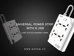 MOXOM-UNIVERSAL POWER STRIP WITH 6 USB