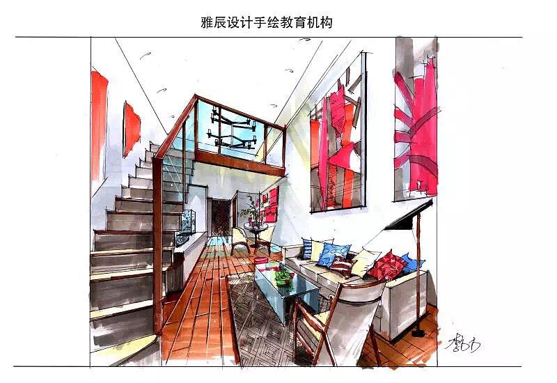 室内建筑马克笔设计手绘效果图分享