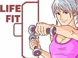 健身房墙绘插画设计