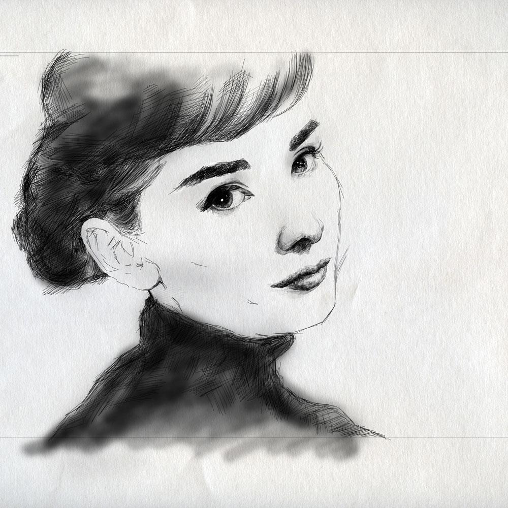 奥黛丽赫本电脑手绘