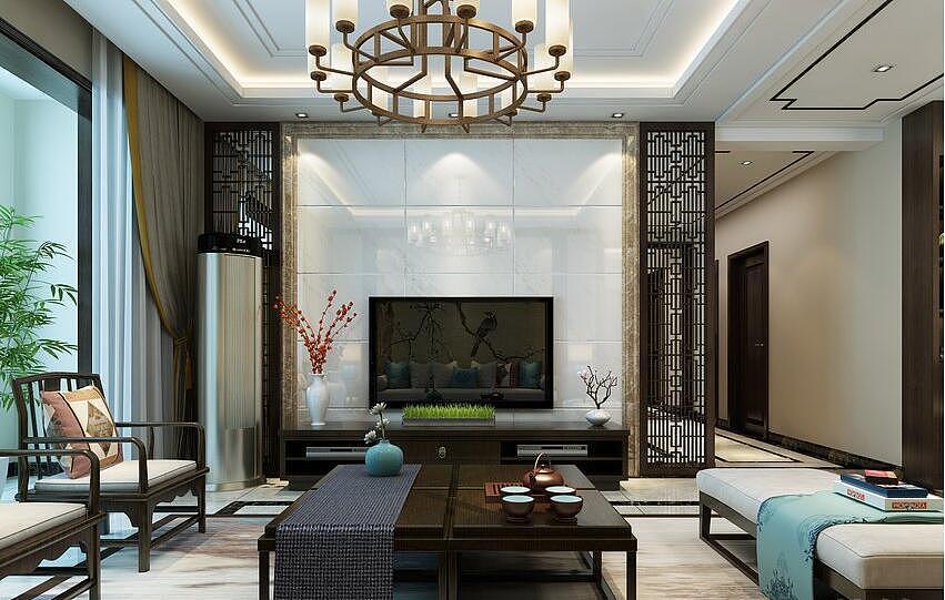 海马公园四室两厅160平新中式风格装修案例欣赏
