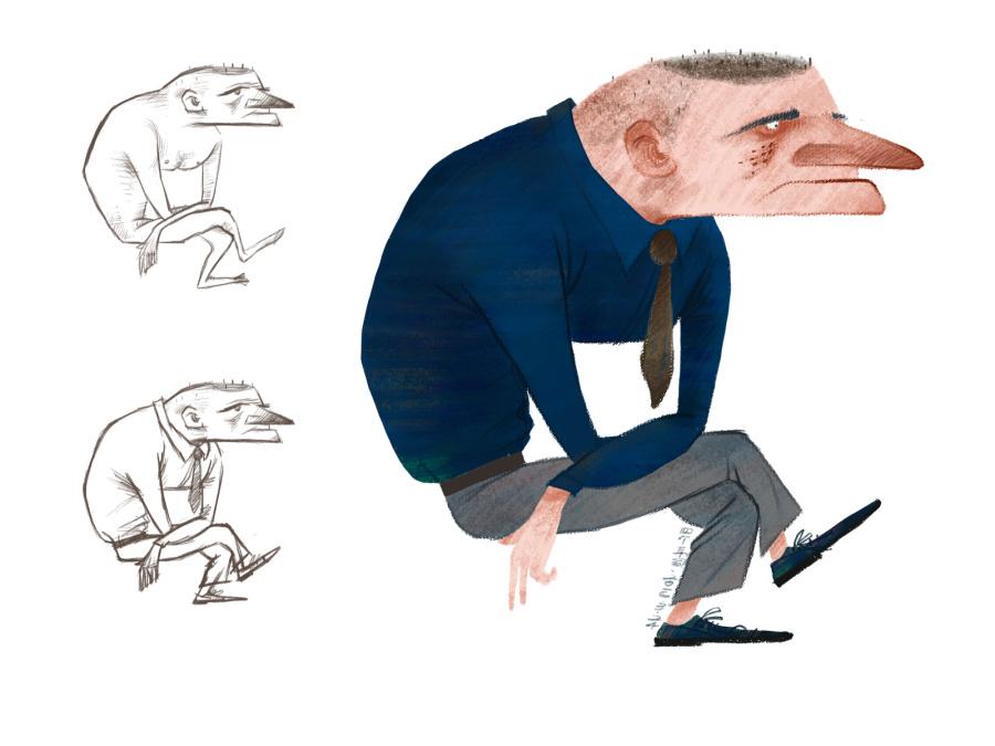 一个垂头丧气的男人|绘画习作|插画|SGED四个