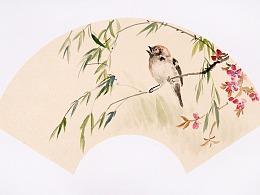 国画——桃花山鸟扇面图绘画步骤