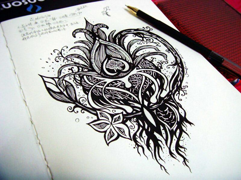 鲜花手绘针管笔