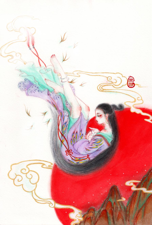 茶狄手绘插画-嫦娥