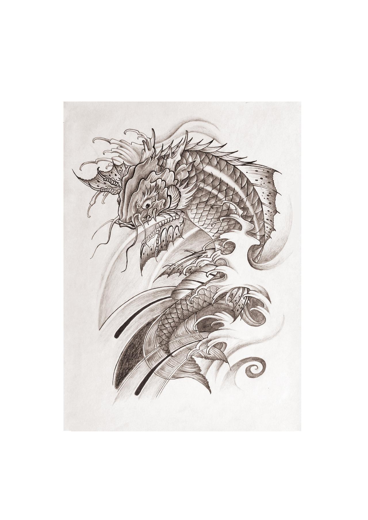 鳌鱼纹身手稿般若图片_鳌鱼纹身手稿般若图片下载