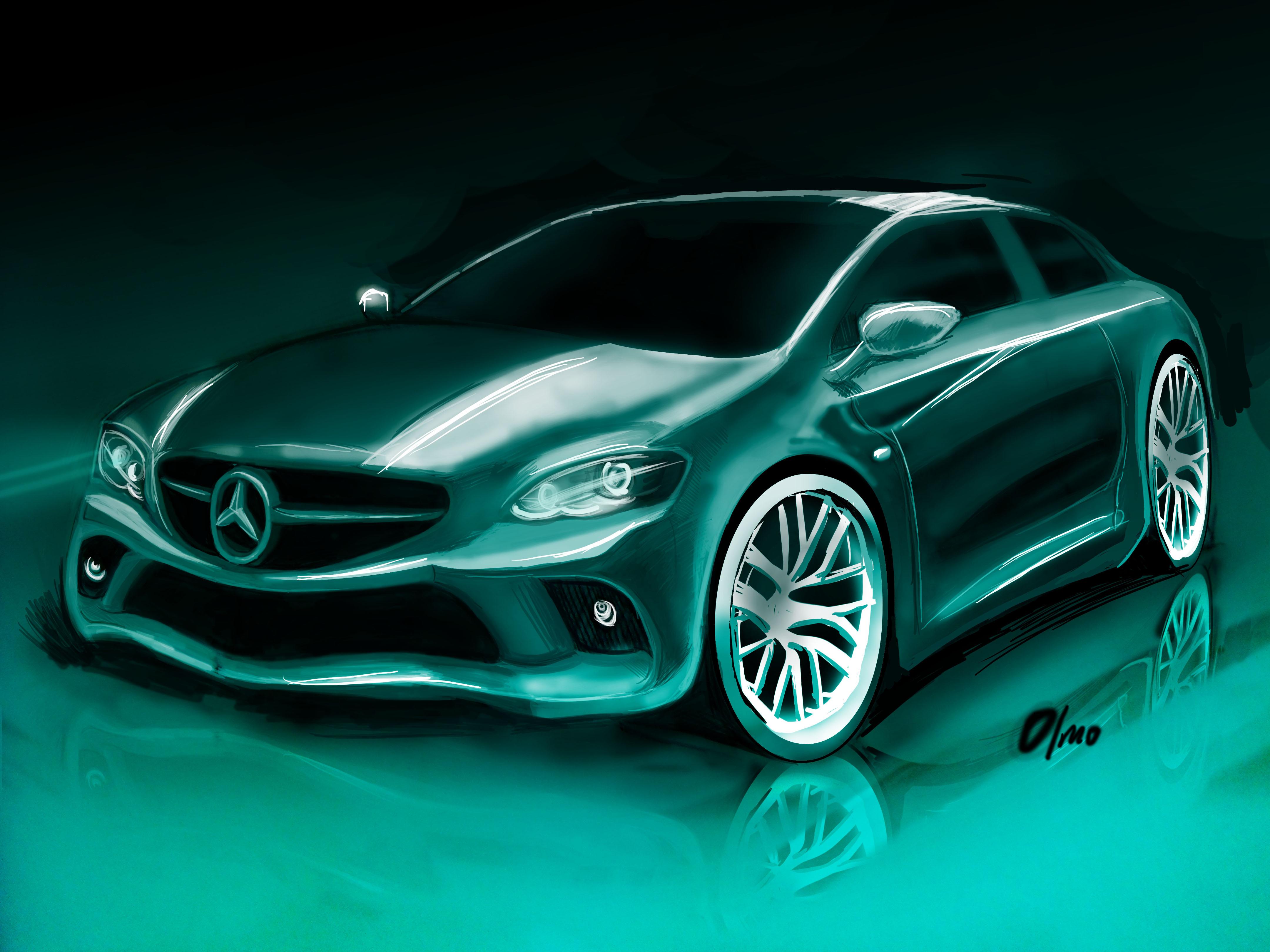 汽车手绘效果图 car rendering