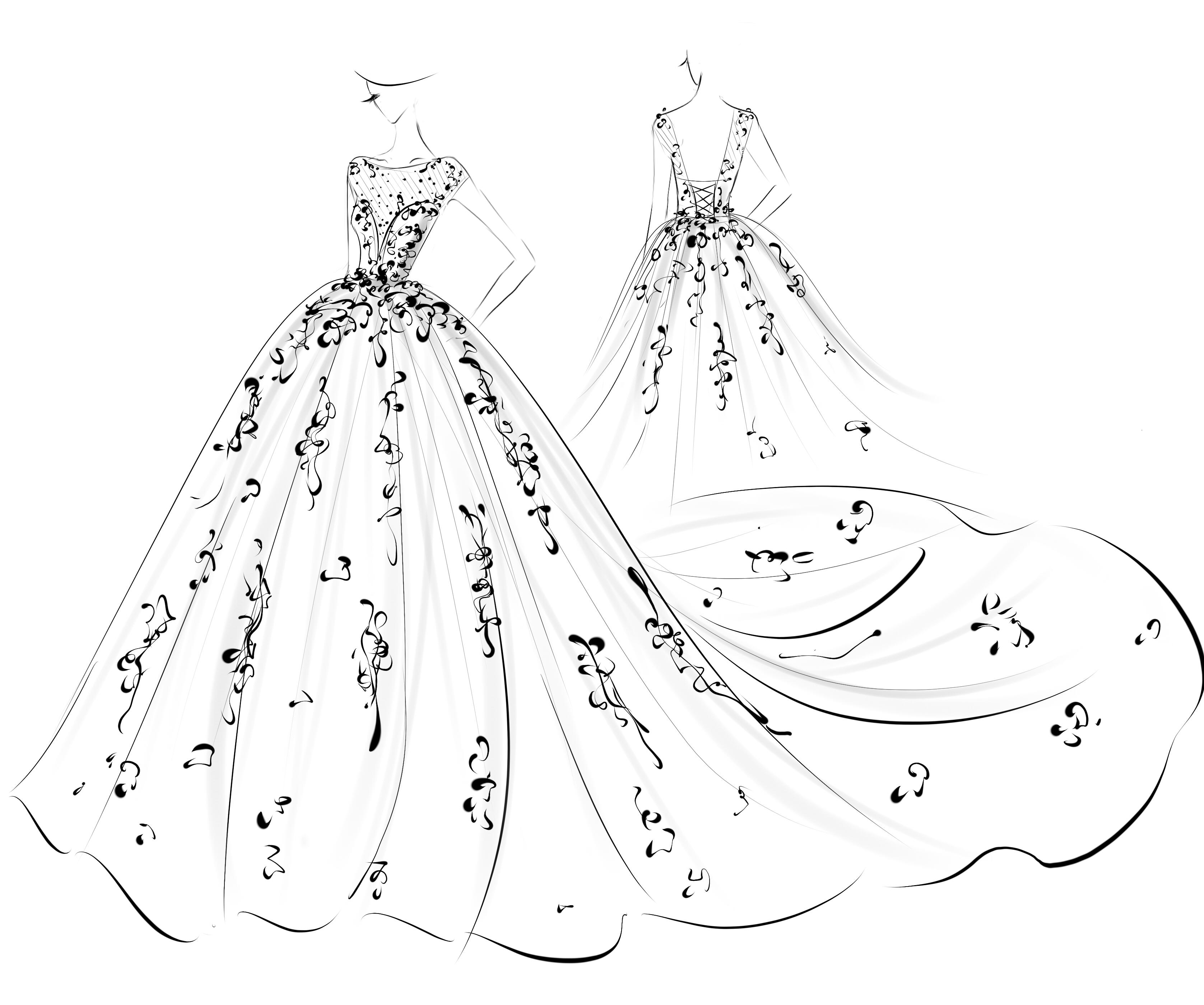 婚纱手稿 服装 正装/礼服 aceyqian - 临摹作品