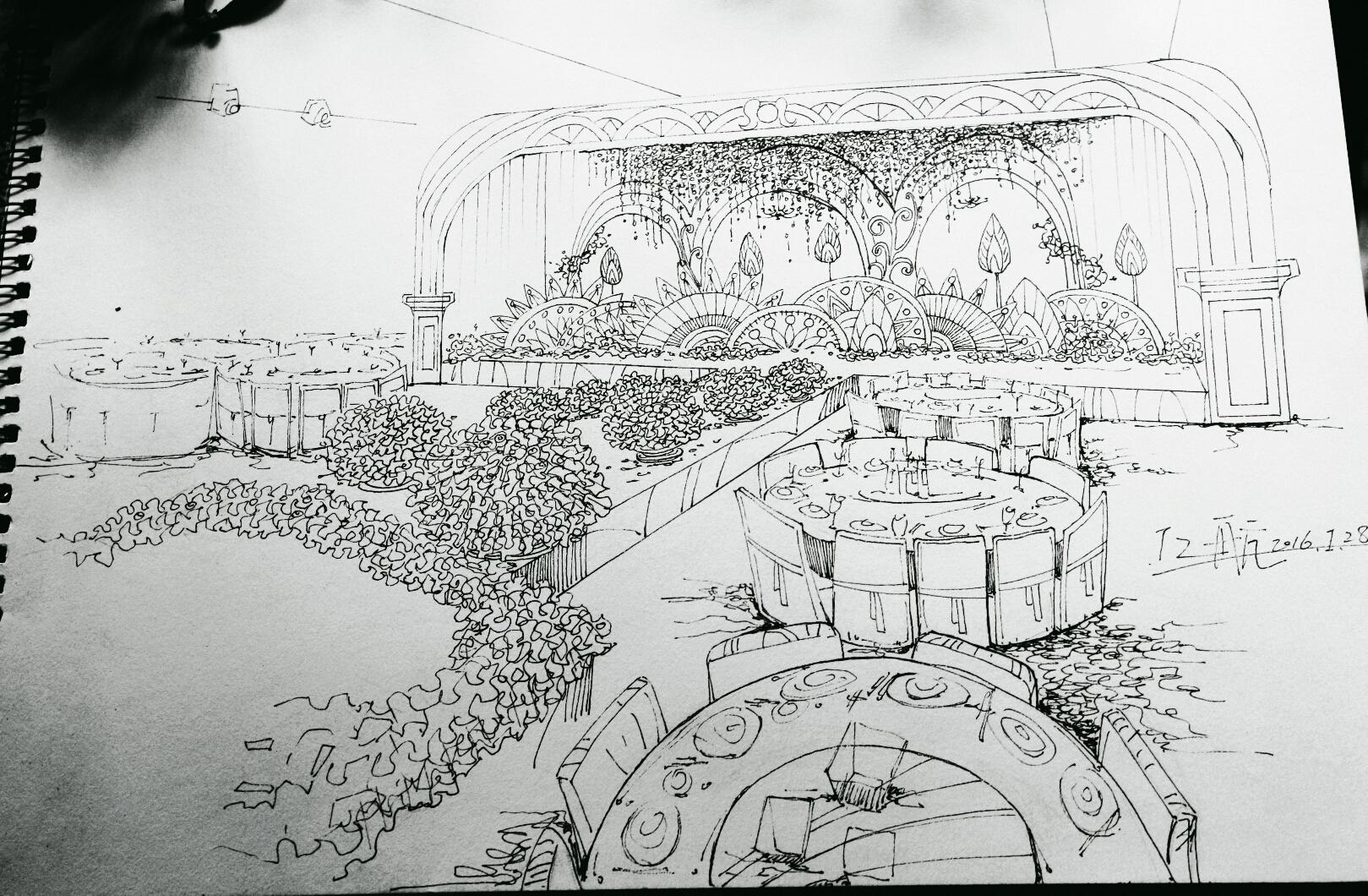近期的婚礼手绘线稿 空间 舞台美术 斗爷丶 - 原创