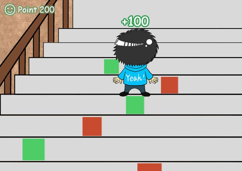 有一款游戏有一关是爬楼梯上厕所还有一关是做冰淇淋有三行图片