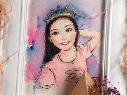 水彩卡通人像 可爱公主
