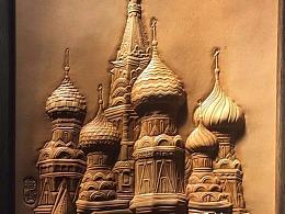 一座城堡皮塑浮雕作品