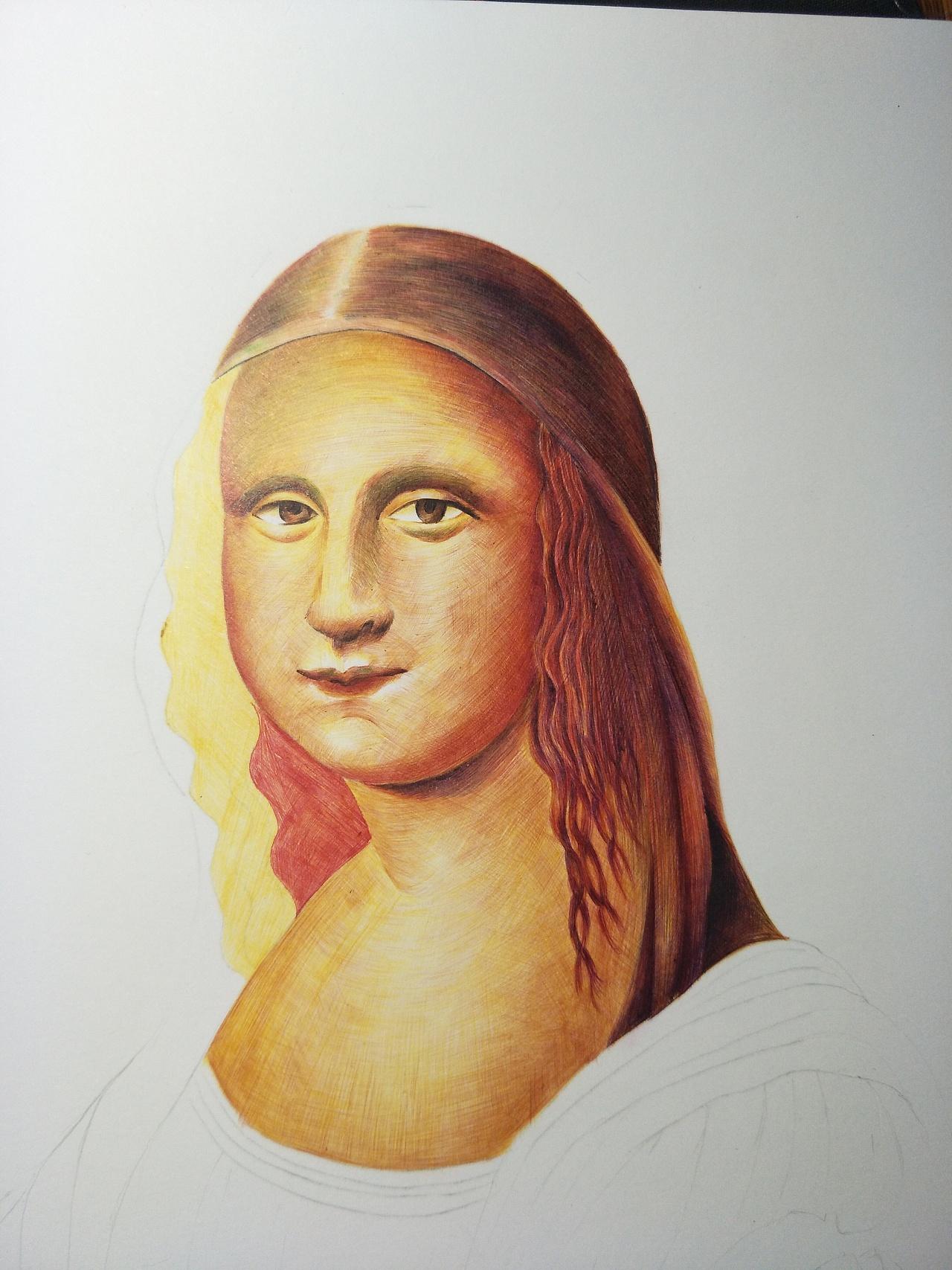 临摹圆珠笔-画蒙娜丽莎图片