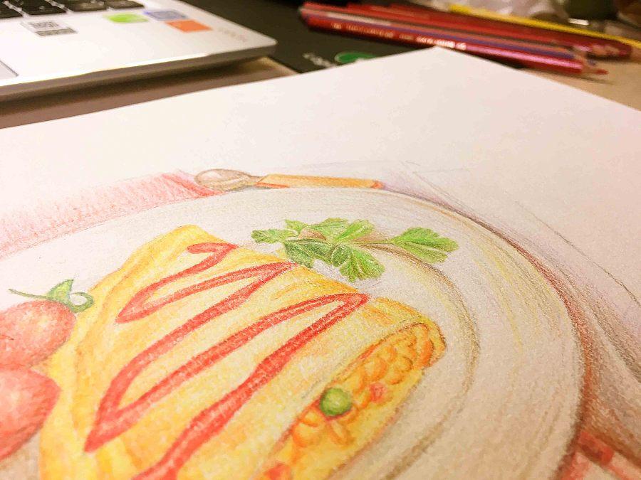 手绘临摹蛋包饭