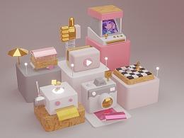 blender粉色系小场景