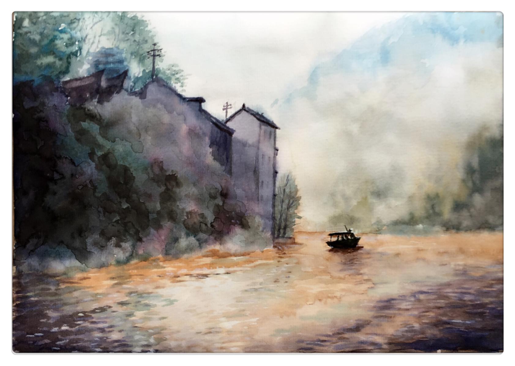 水彩风景#干画法和湿画法的区别到底在哪里