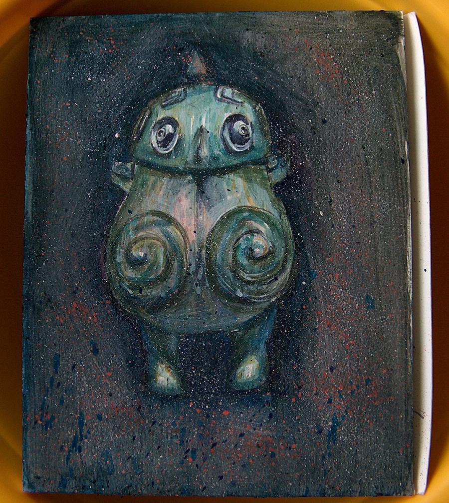 鸮卣,水彩世界里的青铜古器物