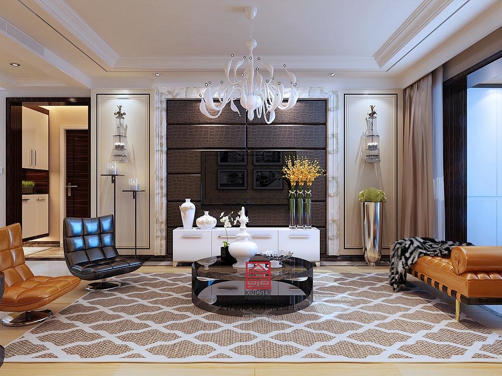 金舍装饰-保利花园131平米装修效果图-港式风格-三居室装修图片