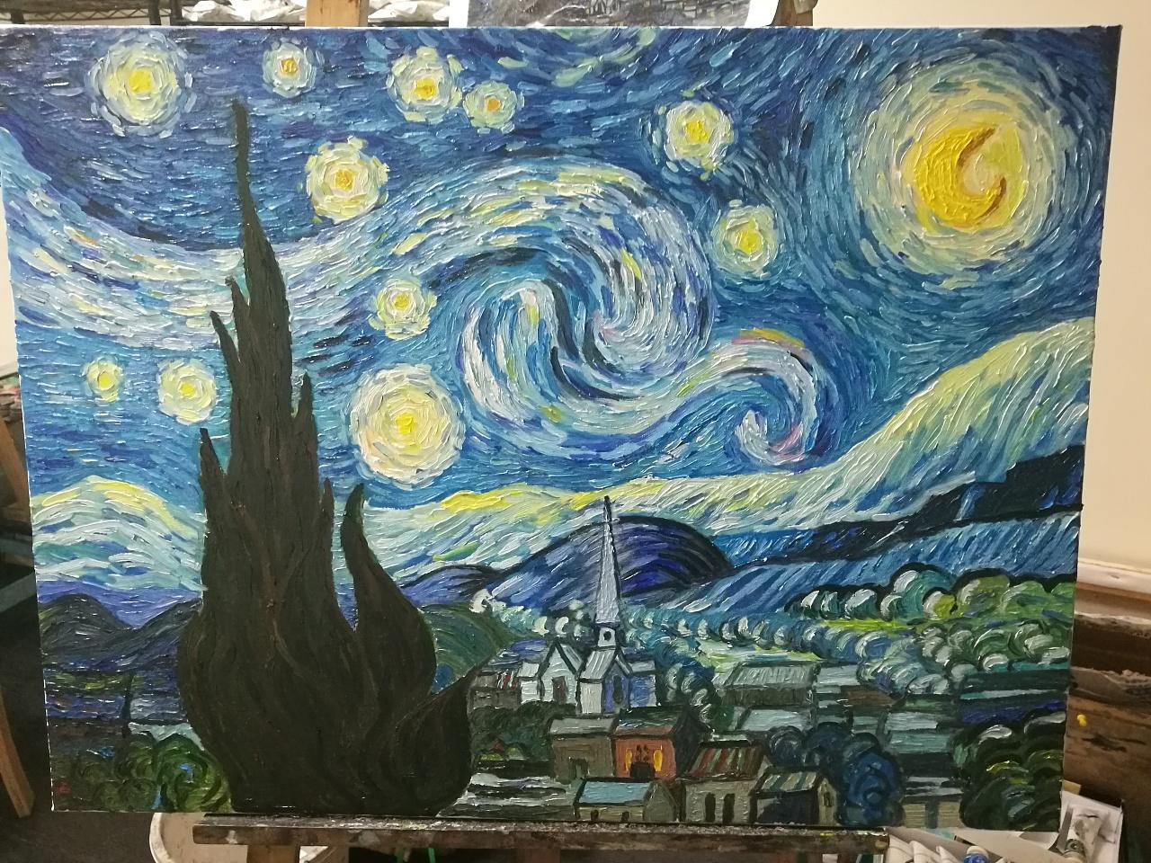 临摹梵高星空|纯艺术|油画|不克 - 原创作品 - 站酷