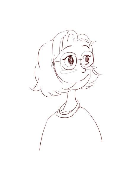人像插画手绘 短发女孩