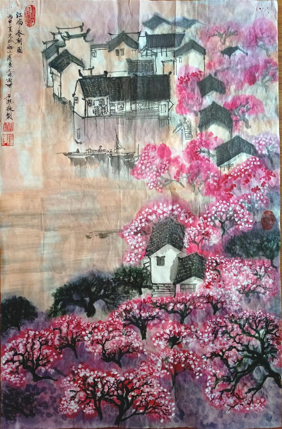 石泷纯手绘《江南春朝图》