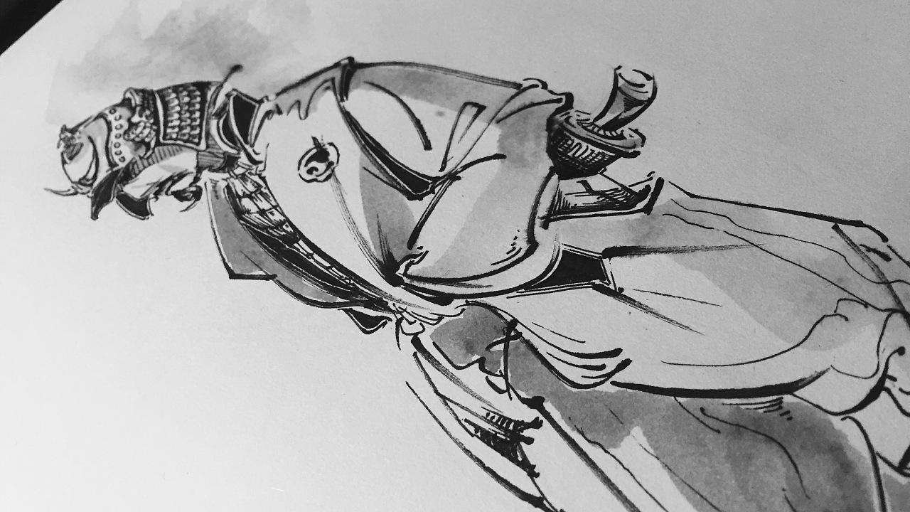 原创手绘 武士 插画练习
