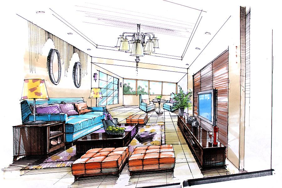 手绘 马克笔 勾线笔|室内设计|空间/建筑|森督度