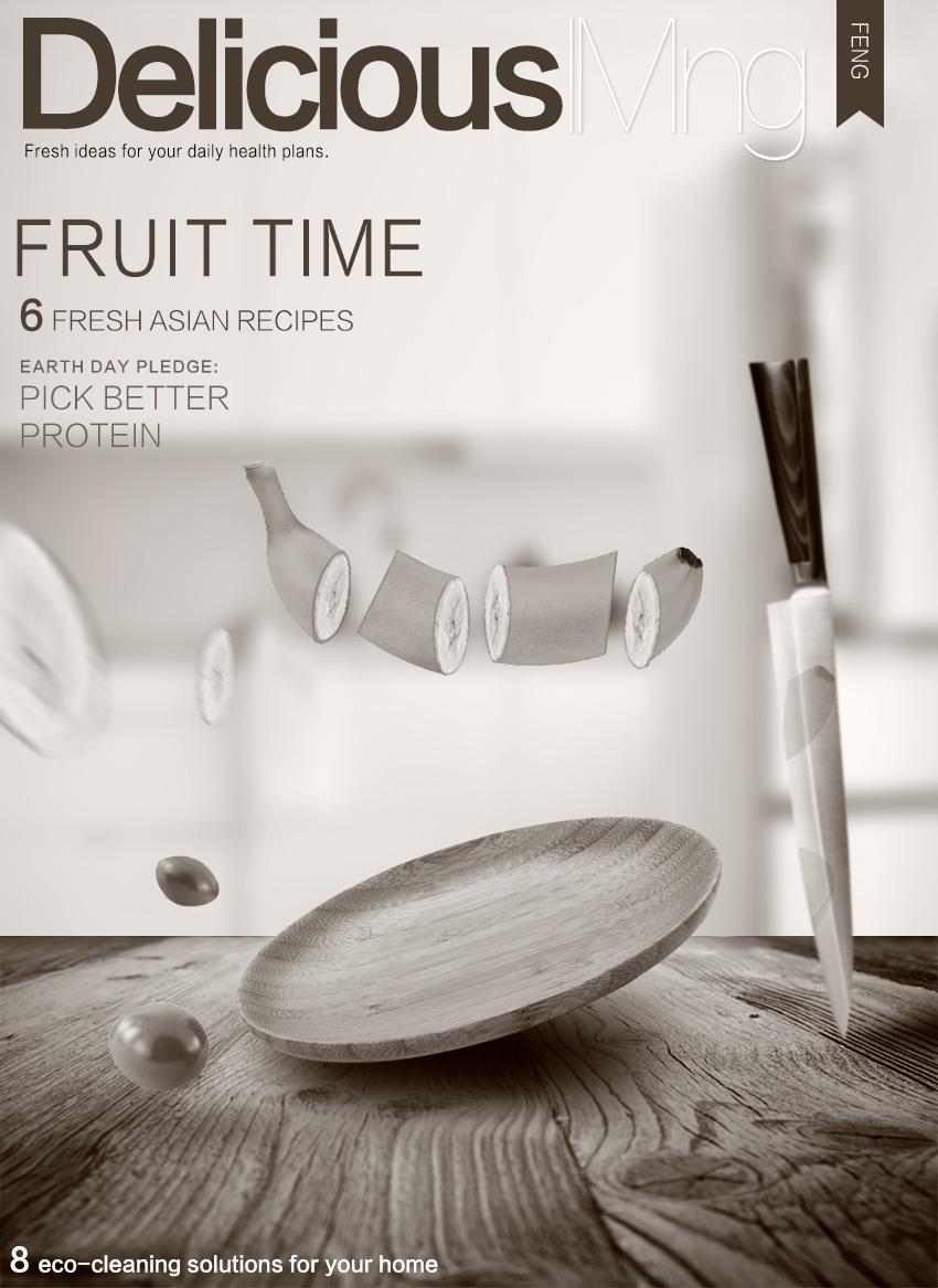 photoshop合成厨房切水果|海报|平面|小豆豆走天涯