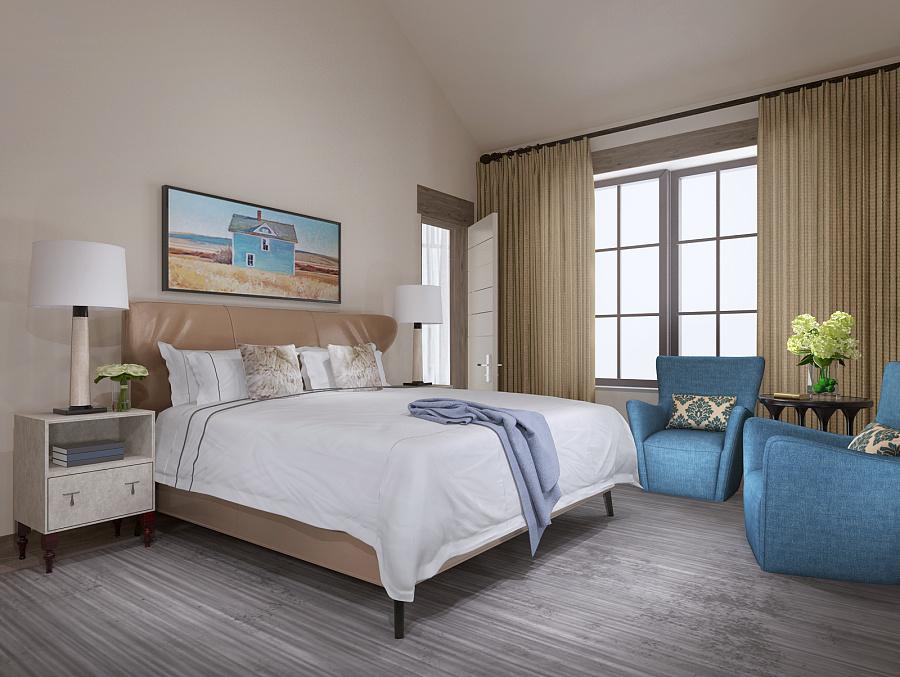 现代酒店卧室效果图